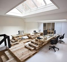 Dutch firm created this temporary office from wooden pallets for an Amsterdam advertising company Brandbase | Most Architecture