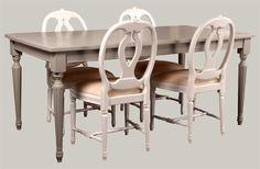 Firenze-ruokapöytä 175x90 cm. Maalattu Ottossonin pellavaöljymaaleilla keskiharmaaksi.  juvi.fi #kustavilainen #ruokapöytä #massiivipuu #tuolit #medaljonkituoli #juviproduction #juvi #gustavian