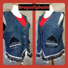COUPON CODE Naughty-and-Nice Upcycled Denim Vest by DragonflyDenim