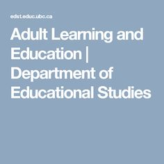 Adult Learning and Education | Department of Educational Studies