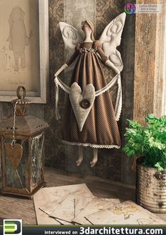 Full image of Tilda doll on style vintage - # style Handmade Angels, Handmade Toys, Doll Crafts, Diy Doll, Angel Crafts, Theme Noel, Paperclay, Sewing Dolls, Soft Dolls
