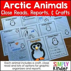 Arctic Animals - This is an Arctic Animals Research Book includes research elements and a craft for 5 animals.***RECENTLY UPDATED WITH BETTER CLIPART, FONTS, AND ACTIVITIES!****Included in this download is:The 5 animals (polar bear, penguin, arctic fox, snow owl, and walrus) each include:close reading passagecover page (to glue craft onto if you choose to assemble into book)several graphic organizerswriting page optionscraftcolor photo of sample project to show kidsJust select which pages…