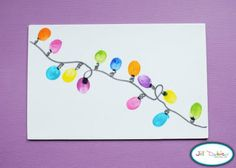 @Jeri Markworth @Jessica Osborn @Rose W!!! Let your children (or grandchildren) make a string of Christmas lights to hang by using their thumb prints....then you draw the line for the wire.