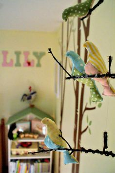 """Love the stuffed birds...the tree is painted on a wall behind a dresser...see more on the pages for """"Lily's Made-with-Love Pad"""""""