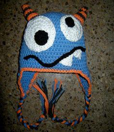 Boy, Monster Hat, Crochet Hats, Baby Boy, Crochet Monster Hat, Beanie, Earflaps, MADE TO ORDER. $20.00, via Etsy.