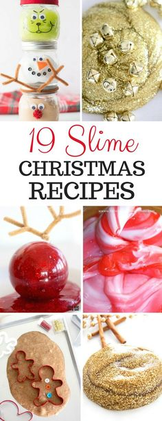 19 Christmas Slime Recipes - a roundup of the best slime recipes all themed for the holiday that your toddlers and preschool kids will love to play with!  #ChristmasDIYSlime #holidayslime