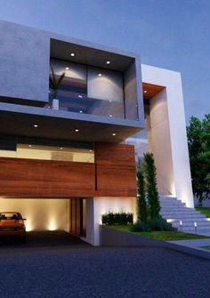 Fachadas de casas de dos pisos con vidrio