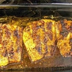 Red drum fish, a type of bass, is coated with cayenne pepper, black pepper, lemon pepper and garlic powder; baked in Italian dressing.