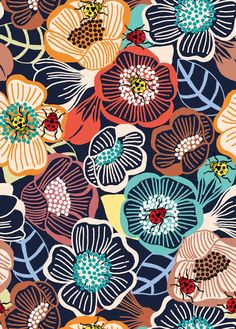 Lovely modern graphic floral design Printemps