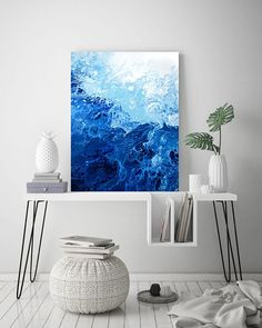 Blue Abstract Painting, Fluid Art, Abstract Ocean, Fluid Painting, Abstract Art Print, Wall Art, Home Decor, Abstract Wave, Canvas Art