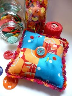 With this pincushion, now you have a cute and colorful landing place for all of your sewing pins.