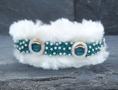 White Fur Luxury Dog Collar Handmade with Teal and White Beads