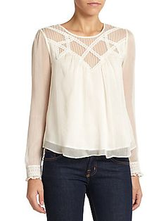 Beyond Vintage Lace-Trimmed Chiffon Blouse Fifth Avenue fashion fix just a few pieces left on sale hurry ! Kids Outfits, Cute Outfits, Lace Embroidery, Saks Fifth Avenue, Vintage Lace, Ready To Wear, Chiffon Blouses, Tunic Tops, My Style