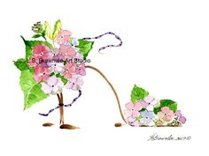 Hydrangea Shoe - Changing Seasons - Sold and relisted.  Enhanced with paint and signed.  Great Gift. Free Shipping refunded.