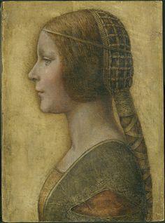 "Attributed to Leonardo da Vinci (1452-1519) ""Profile of a Young Fiancée"" (Bianca Sforza?)"