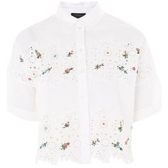 Women's Topshop Kady Embroidered Eyelet Shirt ($60) ❤ liked on Polyvore featuring tops, embroidery shirts, white cotton tops, white embroidered top, cotton shirts and white embroidered shirt