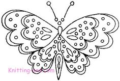 Free Embroidery Pattern: Dotted Butterflies c1945