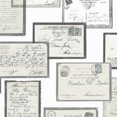 Postcards - Super leuk behang van oude postcards. 1 rol 10 meter 52 cm breed