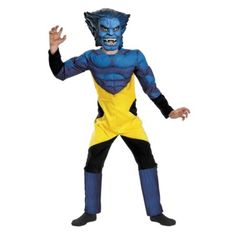 X-Men Marvel Beast Muscle Deluxe Child Costume Description: Oh my stars and garters! This blue furred mutant is just right for you! The Beast costume includes: padded muscle tor Gangster Halloween Costumes, X Men Costumes, Family Halloween Costumes, Movie Costumes, Adult Costumes, Beast Costume, Man Beast, Marvel Comics Superheroes, Super Hero Costumes