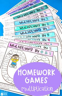 Make homework fun for your year 3 or fourth grade students by sending home multiplication strategy games. These engaging printables are perfect for mental math practice. Each game provides students and parents with the mental math strategy needed to help them memorize the answers to their multiplication facts. Such an easy way for students to learn their multiplication facts and have fun doing it! #homeworkideas #multiplicationgames Fun Math, Math Activities, Math Games, Math Math, Math Resources, Mental Math Strategies, Guided Math Groups, Multiplication Facts, Fractions