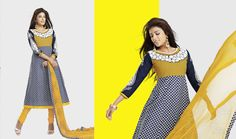 ea55dad41b Blue and Yellow Cotton Designer Dress Material D No.6015b Price: $79  Details: