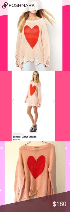 Wildfox Big Heart Lennon knit distressed sweater💖 Wildfox couture big heart Lennon NWOT knitted distressed baby pink with red heart 💖 retails $199 sold out 💕 sweater super comfy and super cute longer for an awesome look with leggings or shorts or skinnies 💖💕🌹 Valentine's Day ready and super freaking cute 🌈 💕💫 topshop nasty gal LF alternative unif babe baby pink girly cute Brandy Melville omighty free people dollskill omighty kawaii hello kitty glitter mermaid babydoll Melanie…