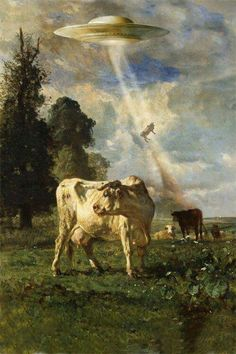 cows being abducted by aliens in a UFO tractor beam Thrift Store Art, Art Store, Ancient Aliens, Art Inspo, Art Bizarre, Art Alien, Art Science Fiction, Arte Peculiar, Arte Indie
