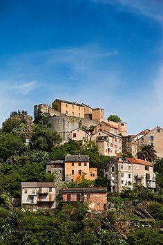 France, Corsica, Haute-Corse Department, Central Mountains Region, Corte, city…