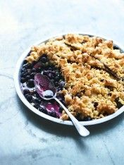 blueberry, apple and coconut crumble