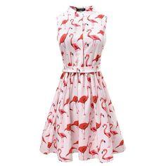 Flamingo High Waist Women Skirt Pleated Summer Dress Vintage 50s 60s Pattern #Unbranded