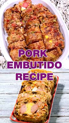 This Filipino Homemade Embutido Recipe is made with ground pork eggs tomato sauce pickles red and green bell peppers carrots cheddar cheese onion salt and pepper and bread crumbs for the Embutido to be able to mold itself once you open it before frying. Meatloaf Recipes, Pork Recipes, Asian Recipes, Cooking Recipes, Healthy Recipes, Easy Filipino Recipes, Pinoy Recipe, Recipe Recipe, Pork