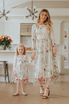 The Garden Party Dress Mom Daughter Matching Dresses, Mother Daughter Fashion, Mode Simple, Mommy And Me Outfits, Mommy And Me Dresses, Tea Length Dresses, Wedding Dress Sleeves, Kind Mode, The Dress