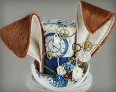 Blanco conejo Mini Top Hat sombrero de cumpleaños Fascinator