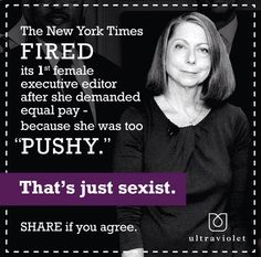 This post expresses sexism through the fact that the female got fired due to her compassion and dedication to her job. This presents discrimination against females because she was defending herself and job, and got fired due to this. Expressing that women should not fight for anything, but accept and appreciate what they receive. This expresses discrimination through the inequality against women and their work place atmosphere!