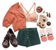 a peach by paper-freckles on Polyvore featuring American Apparel, Zara, RVCA, Dr. Martens and red flower