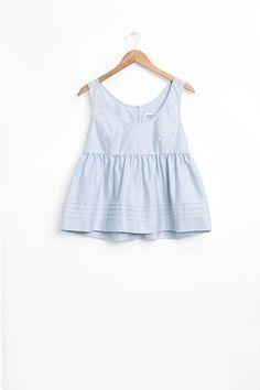 Babydoll Sleepwear Top Blue Oxford Stripe | The Sleep Shirt