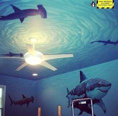 Sharks In The Porthole Porcelain Brushed Nickel Drawer