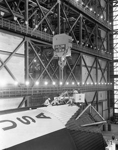 erection preparation - upper link rotation brace assembly being secured into place, March American Space, Nasa Space Program, Apollo Program, Apollo Missions, Nasa History, Kennedy Space Center, Space Rocket, Apollo 11, Space Travel