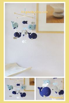 Whale  Mobile - Baby Crib Mobile - Nursery Mobile - Felt Fish Mobile - Royal Blue Gray Whale family (U can pick your colors)