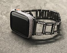 Designer Women Apple Watch Band Iced Out Crystal Iwatch Band, Apple Watch Cover Bezel Bling 3 Army Watches, Old Watches, Watches For Men, Apple Watch Bands Fashion, Apple Watch Accessories, Apple Watch 42mm, Black Apple, Watch Brands, Bling
