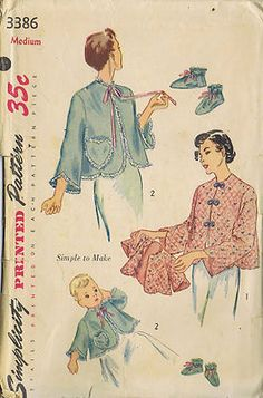5c3b27abd7f64 Vintage 50 s Misses and Infants  Bed Jacket Pattern and Baby Bootees The  quilted Jackets for