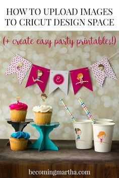 This post will show you step by step (with photos!) how to upload images in Cricut Design Space, which can then be used to create beautiful party supplies! Easy Crafts For Kids, Fun Crafts, Paper Crafts, Simple Crafts, Monster Birthday Parties, 5th Birthday, Cricut Tutorials, Cricut Ideas, Wreath Tutorial