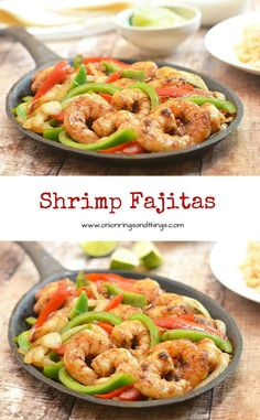 Easy on prep yet big on taste, this shrimp fajitas is what you need for dinner on a busy weekday night! With seasoned shrimp, crisp bell peppers and onions, and your favorite accompaniments all bundled up in warm tortillas, it's sure to be a family favori Fish Dishes, Mexican Dishes, Seafood Dishes, Fish And Seafood, Seafood Recipes, Mexican Food Recipes, Dinner Recipes, Cooking Recipes, Healthy Recipes