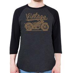 Vintage American Motorcycle Men's 3/4 Sleeve, Baseball Shirt