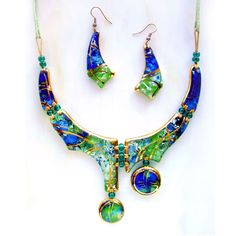"""Купить Комплект """"Муза"""" (стекло, фьюзинг) - зеленый, украшения ручной работы, колье"""