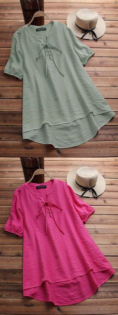 Irregular Bandage Solid Color Short Sleeve Vintage Blouses look not only special, but also they always show ladies' glamour perfectly and bring surprise. Come to NewChic to choose the best one for yourself! Cute Tops, Women's Tops, Color Shorts, Blouse Vintage, Textiles, Bohemian Style, Summer Dresses, Kurti, Womens Fashion