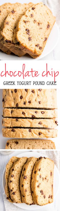 Skinny Greek Yogurt Chocolate Chip Pound Cake -- just 150 calories with almost 7g of protein! This easy recipe is SO good & secretly healthy enough for breakfast!