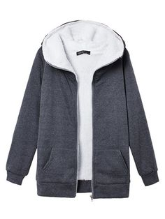 New Korea Women's Fleece Hoodie Outwear Thicken Coat — 18.90 € --: New Korea Women's Fleece Hoodie Outwear Thicken Coat