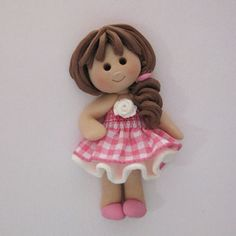 *POLYMER CLAY ~ Fimo Gingham Girl Card Topper | Karacter Krafts Ltd MISI Handmade Shop