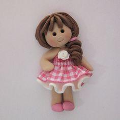 *POLYMER CLAY ~ Fimo Gingham Girl Card Topper | Karacter Krafts Ltd MISI Handmade Shop